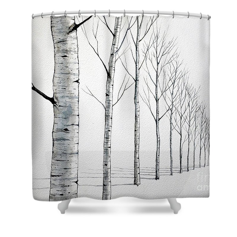 Row Of Birch Trees In The Snow Shower Curtain For Sale By Christopher Shellhammer