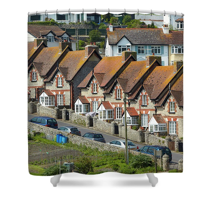Row House Shower Curtain featuring the photograph Row Of Houses by Allan Baxter