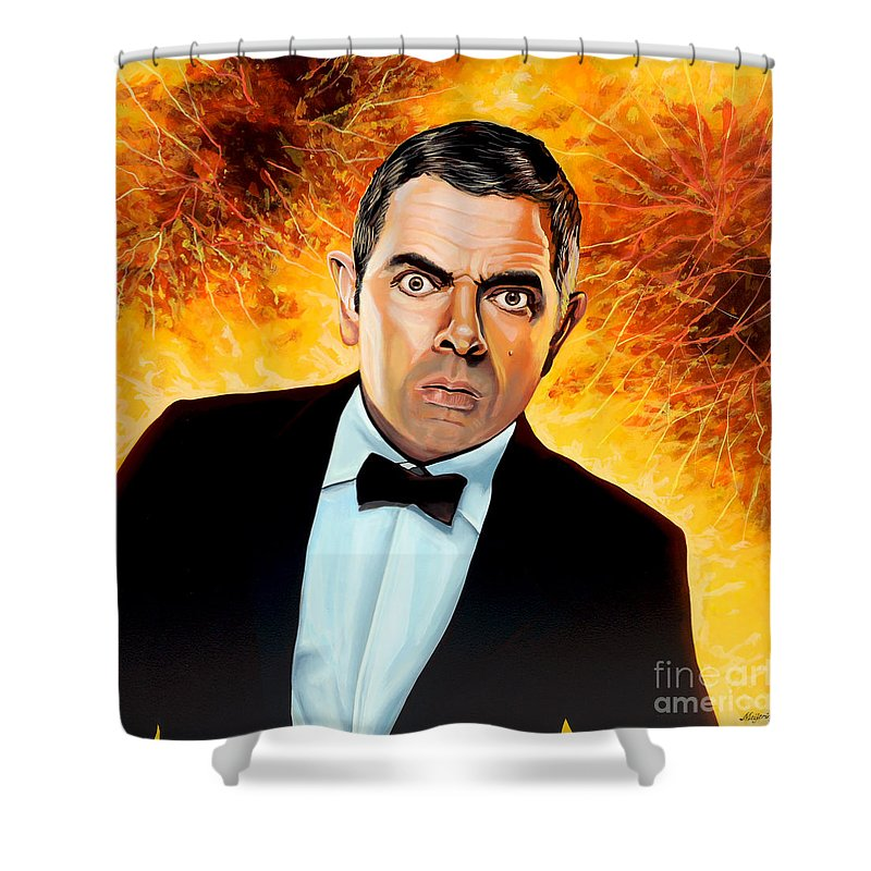Rowan Atkinson Shower Curtain featuring the painting Rowan Atkinson Alias Johnny English by Paul Meijering