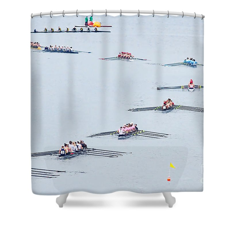 Rowers Arc Shower Curtain featuring the photograph Rowers Arc-natural by Gary Holmes