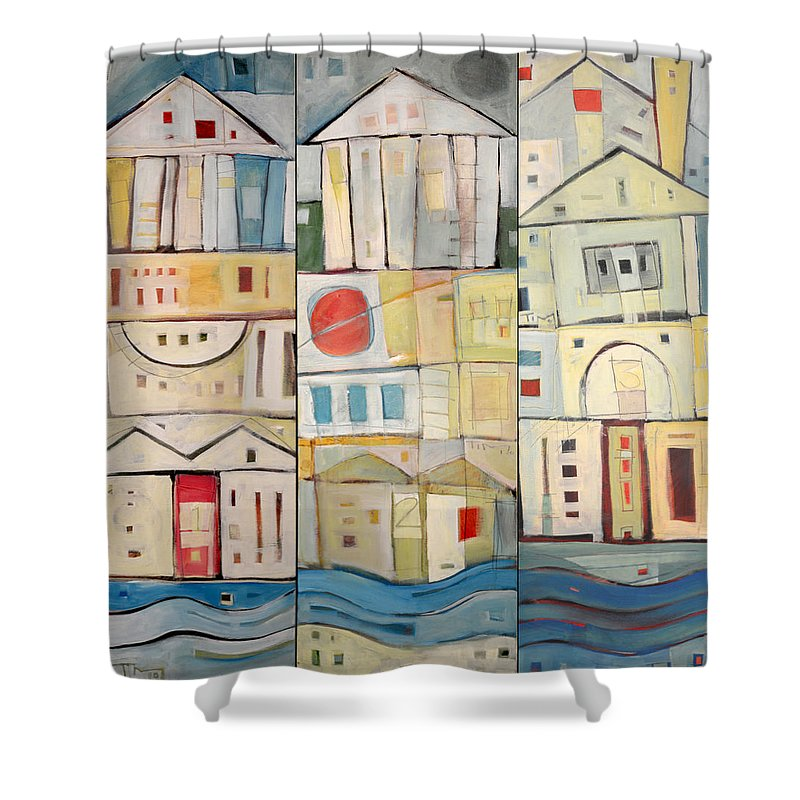Row Houses Shower Curtain featuring the painting Rowhouses Triptych by Tim Nyberg