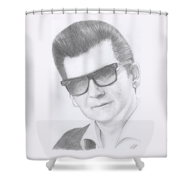 Portrait Of Roy Orbison Shower Curtain featuring the drawing Roy Orbison by Keith Miller
