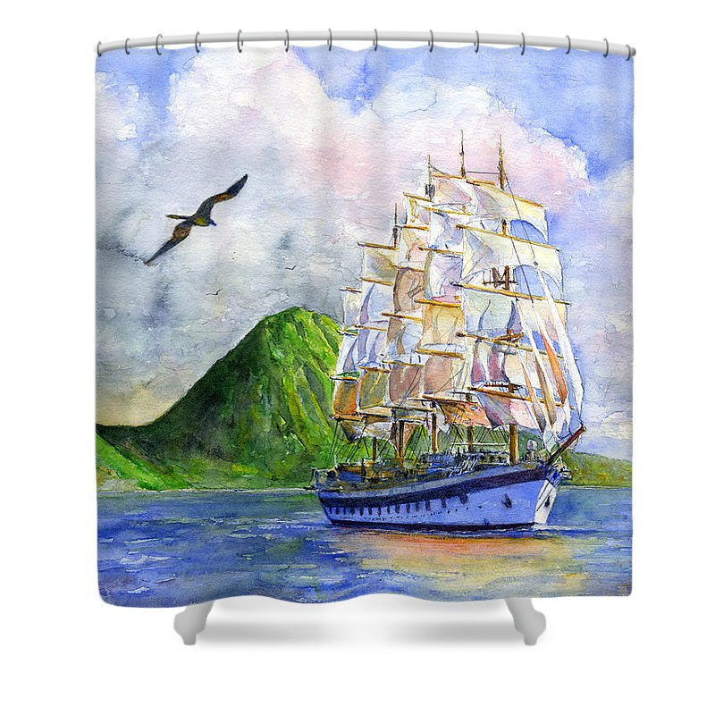Caribbean Shower Curtain Featuring The Painting Royal Clipper Leaving St Lucia By John D Benson