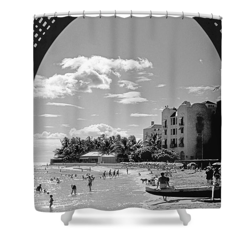 1930s Shower Curtain featuring the photograph Royal Hawaiian Hotel by Underwood Archives