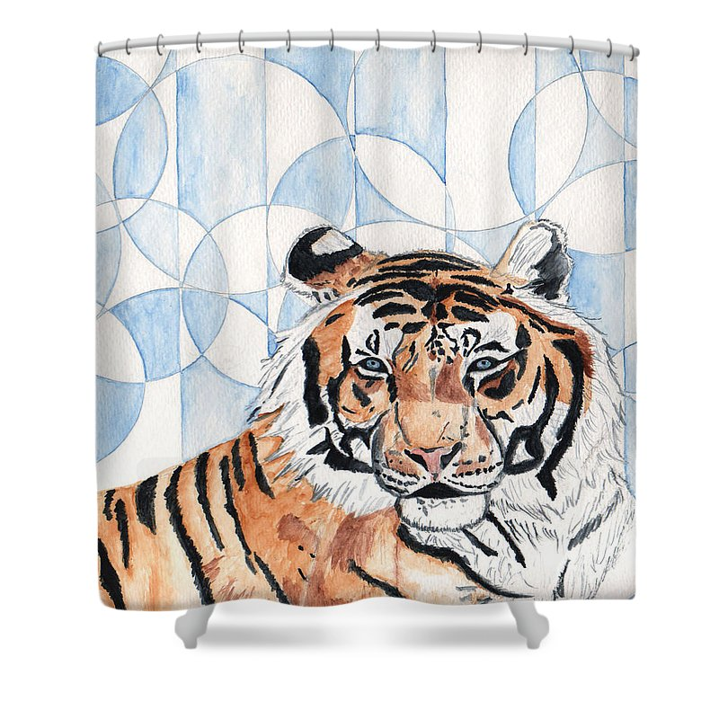 Tiger Shower Curtain featuring the painting Royal Mysticism by Crystal Hubbard
