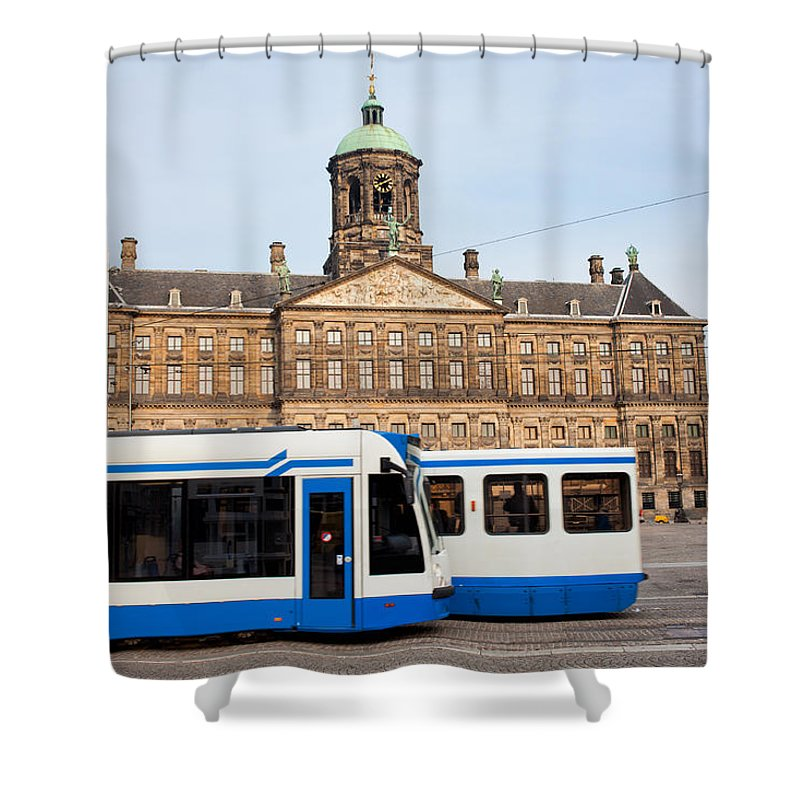 Royal Shower Curtain featuring the photograph Royal Palace And Trams In Amsterdam by Artur Bogacki