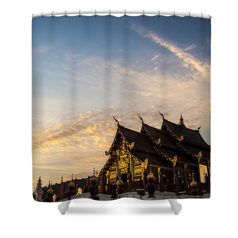 Chiang Mai Shower Curtain featuring the photograph Royal Park Rajapruek On Sunset by Setsiri Silapasuwanchai