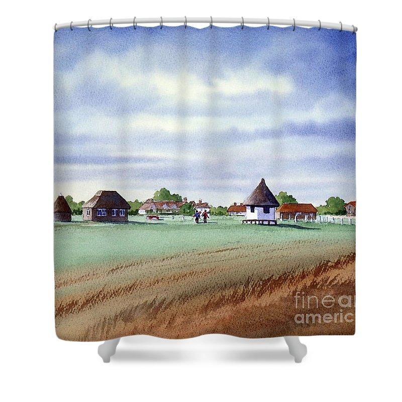 Golf Shower Curtain featuring the painting Royal Saint George's Golf Course by Bill Holkham