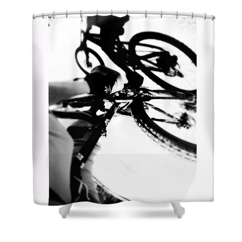 Bicycle Shower Curtain featuring the photograph Rubber Side Down by Chris Phillips