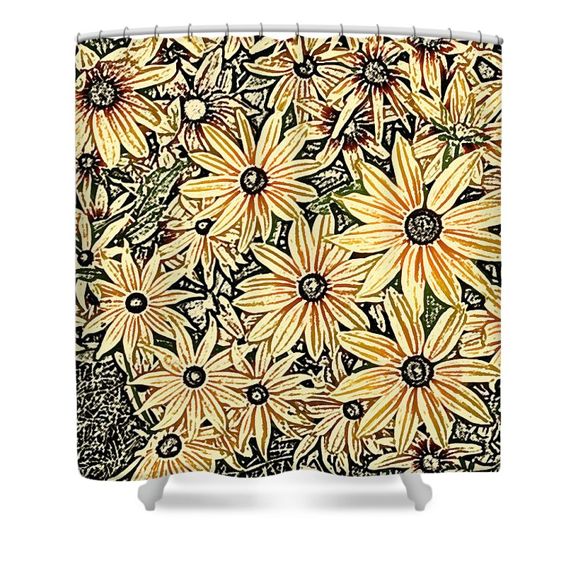Rudbeckia Shower Curtain featuring the photograph Rudbeckia - Rudbeckie by Nature and Wildlife Photography