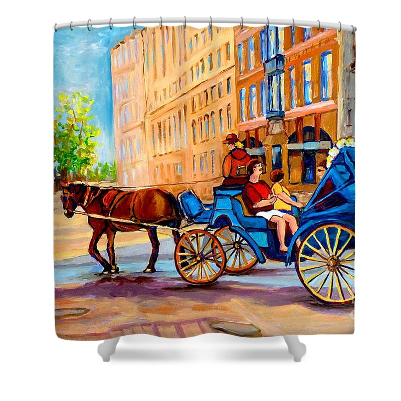 Rue Notre Dame Shower Curtain featuring the painting Rue Notre Dame Caleche Ride by Carole Spandau