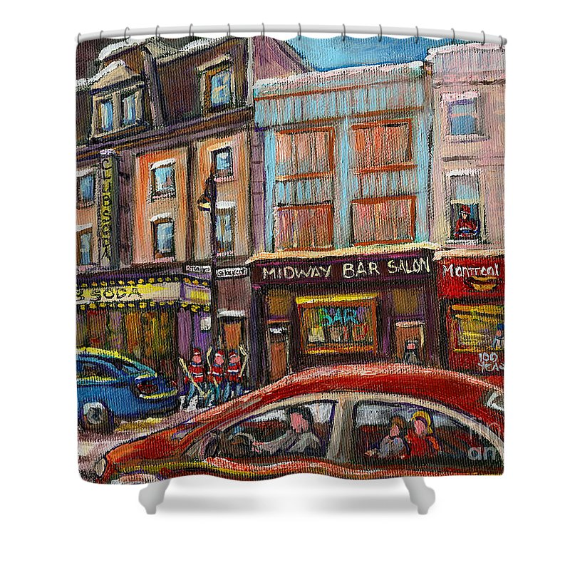 Winter Shower Curtain featuring the painting Rue Saint Laurent Club Soda Montreal by Carole Spandau