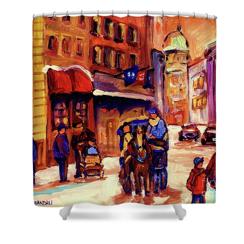 Montreal Shower Curtain featuring the painting Rue St. Paul Old Montreal Streetscene In Winter by Carole Spandau