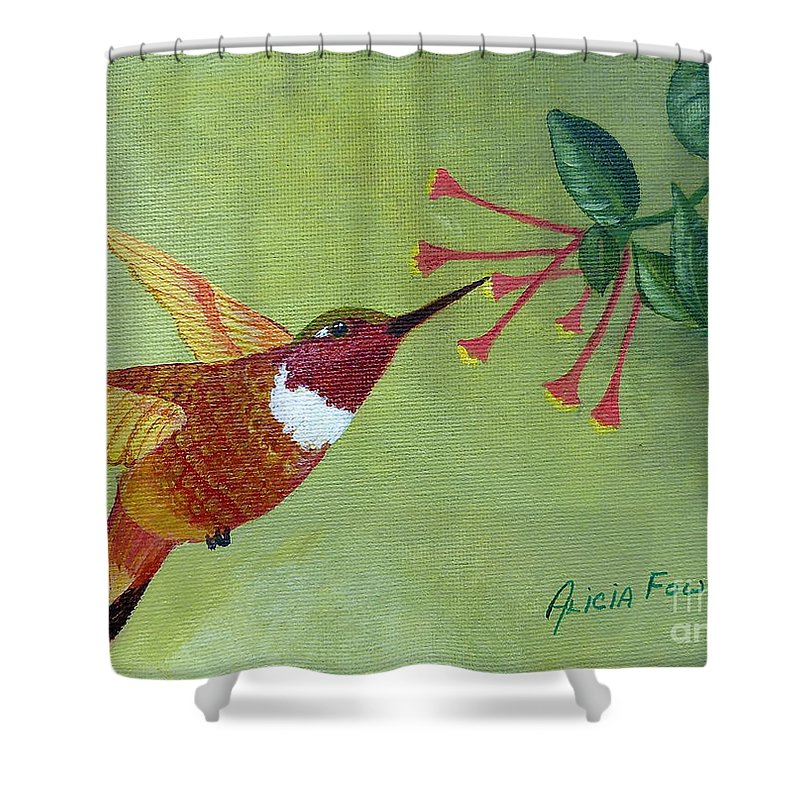 Hummingbird Shower Curtain featuring the painting Rufous Hummingbird by Alicia Fowler