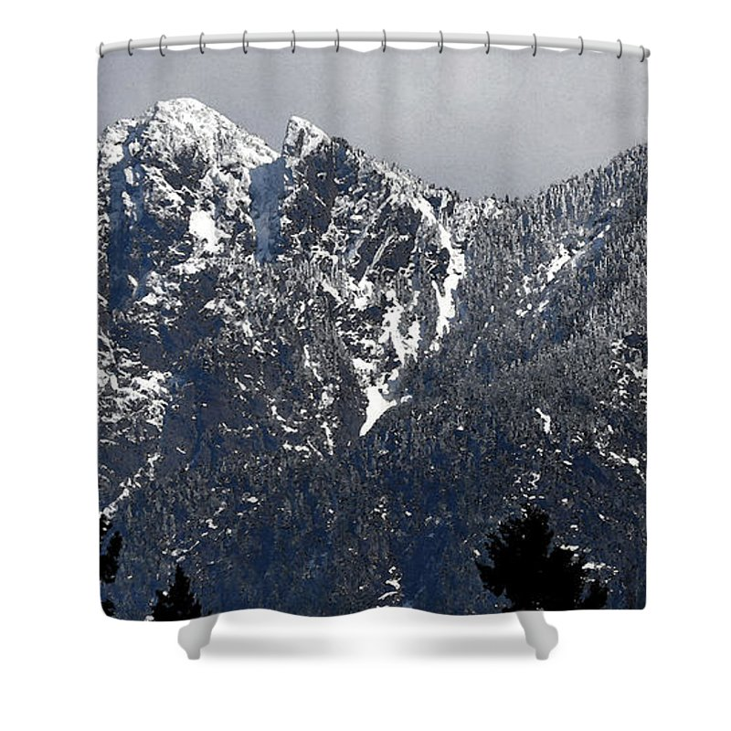 Landscape Shower Curtain featuring the digital art Rugged Mountain by Kirt Tisdale