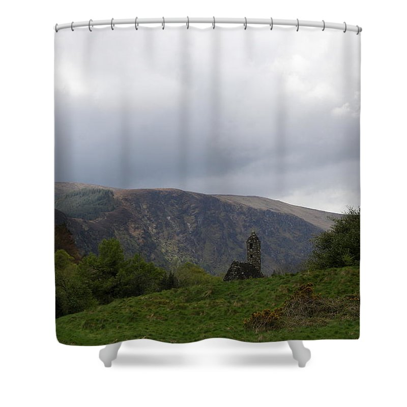 Ruin Shower Curtain featuring the photograph Ruin In The Hills - Glendalough by Christiane Schulze Art And Photography