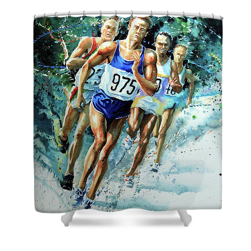Sports Artist Shower Curtain featuring the painting Run For Gold by Hanne Lore Koehler