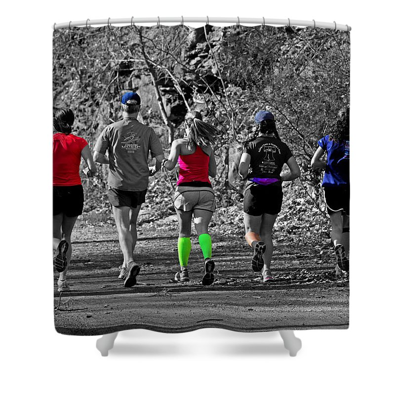 Joggers Shower Curtain featuring the photograph Run In The Park by Tom Gari Gallery-Three-Photography