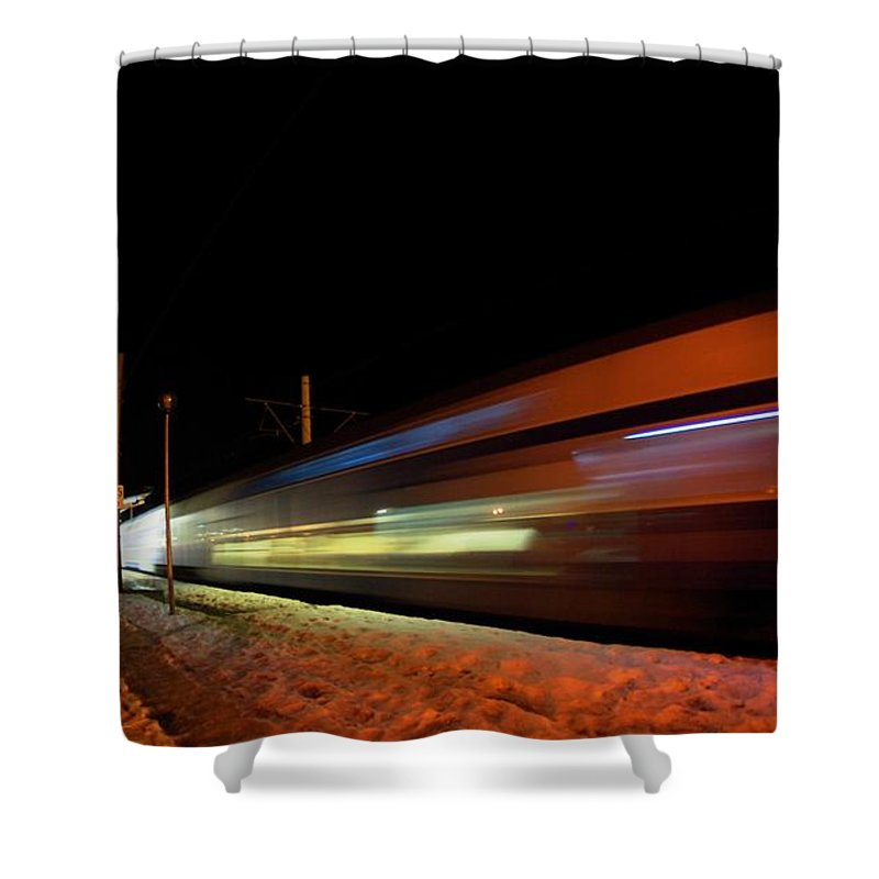 Train Shower Curtain featuring the photograph Runaway Train by Amalia Suruceanu