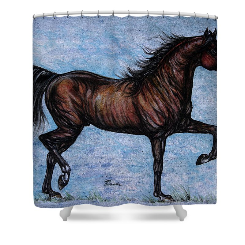 Horse Shower Curtain featuring the painting Running In The Blue by Angel Ciesniarska