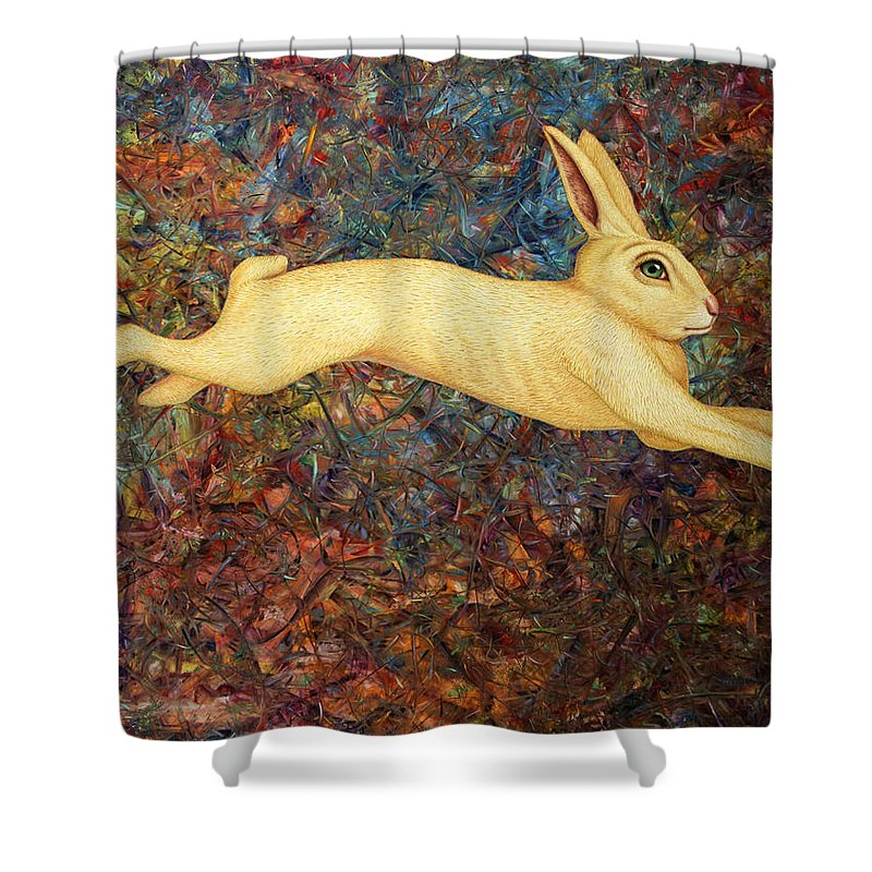 Rabbit Shower Curtain featuring the painting Running Rabbit by James W Johnson