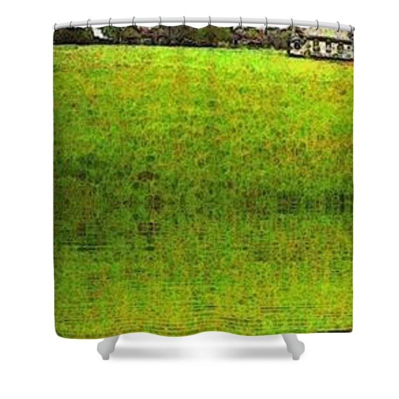 Miltonvale Kansas Church Shower Curtain featuring the painting Rural Church by PainterArtist FIN