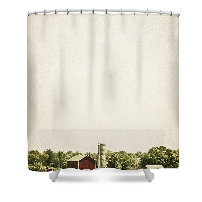 Old; Farm; Barn; Rural; Red; Fall; Landscape; Outside; Outdoors; Country; Countryside; Sky; Distance; Grass; Field; Silo; Trees; Empty; No One Shower Curtain featuring the photograph Rural Farmland by Margie Hurwich
