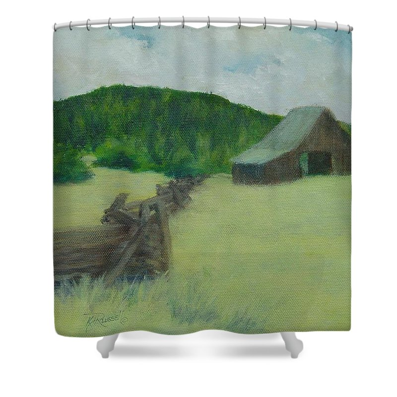 Rural Landscape Paintings Shower Curtain featuring the painting Rural Landscape Colorful Oil Painting Barn Fence by K Joann Russell