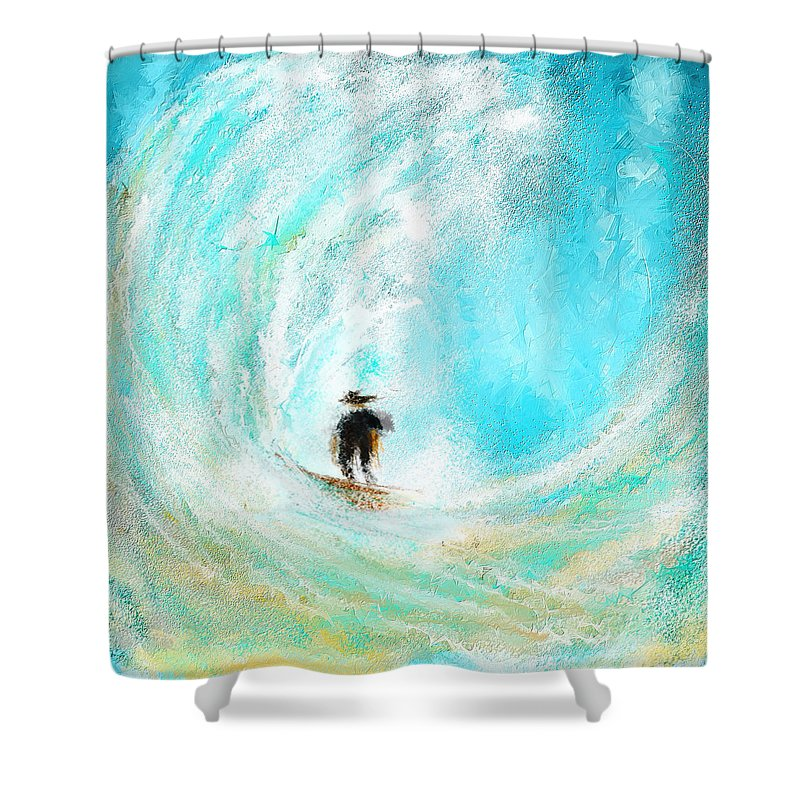 Surfing Art Shower Curtain featuring the painting Rushing Beauty- Surfing Art by Lourry Legarde