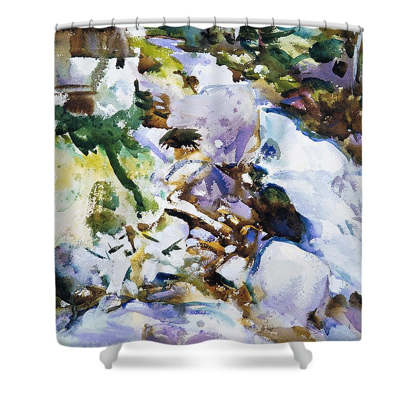 John Singer Sargent Shower Curtain featuring the painting Rushing Brook by John Singer Sargent