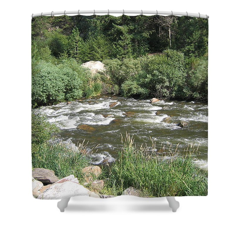 Colorado Shower Curtain featuring the photograph Rushing Water by Suzanne Theis