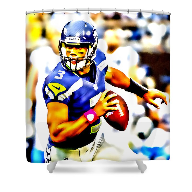 Russell Wilson Shower Curtain featuring the digital art Russell Wilson In The Pocket by Brian Reaves