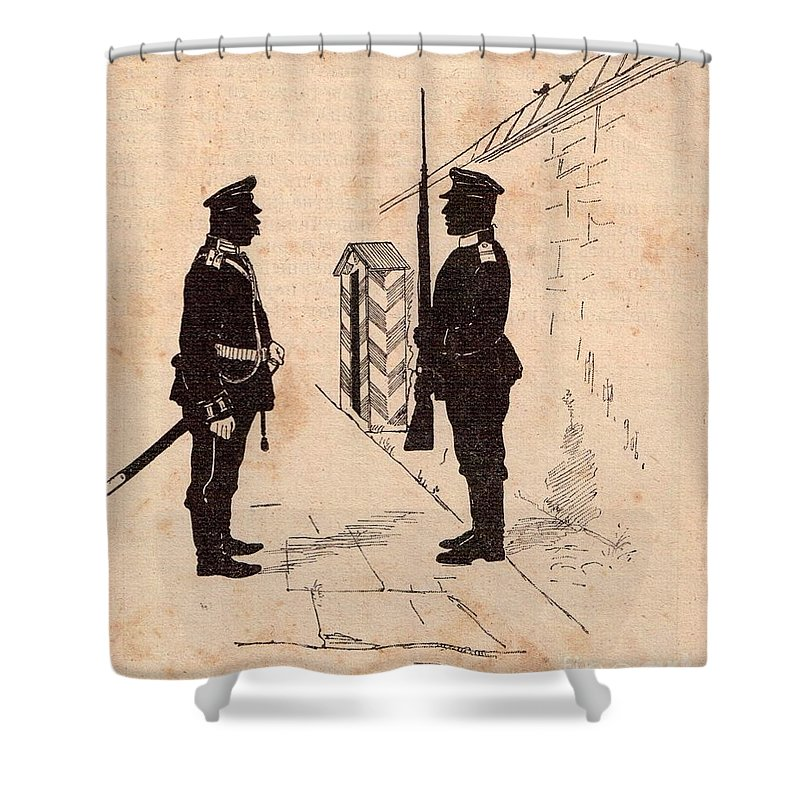 Soldiers Shower Curtain featuring the drawing Russian Soldiers by Oleg Konin