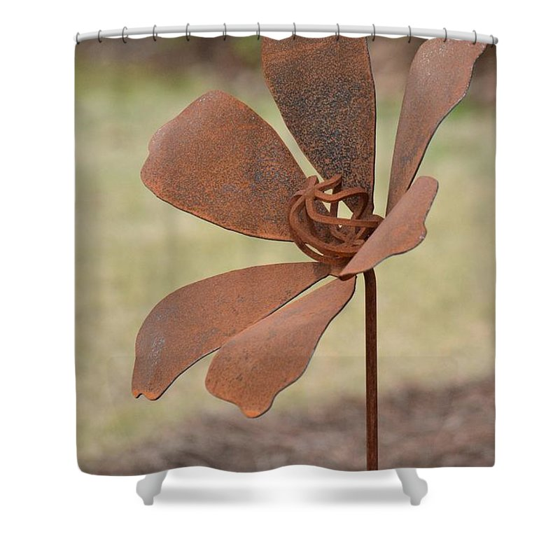 Rusted Iron Flower Shower Curtain featuring the photograph Rusted Iron Flower by Maria Urso