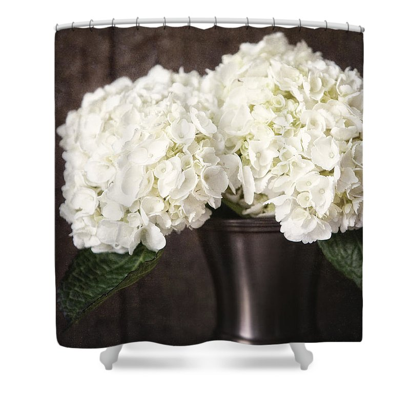 Flower Shower Curtain Featuring The Photograph Rustic Hydrangea In A Bronze Vase With Barnwood By Lisa