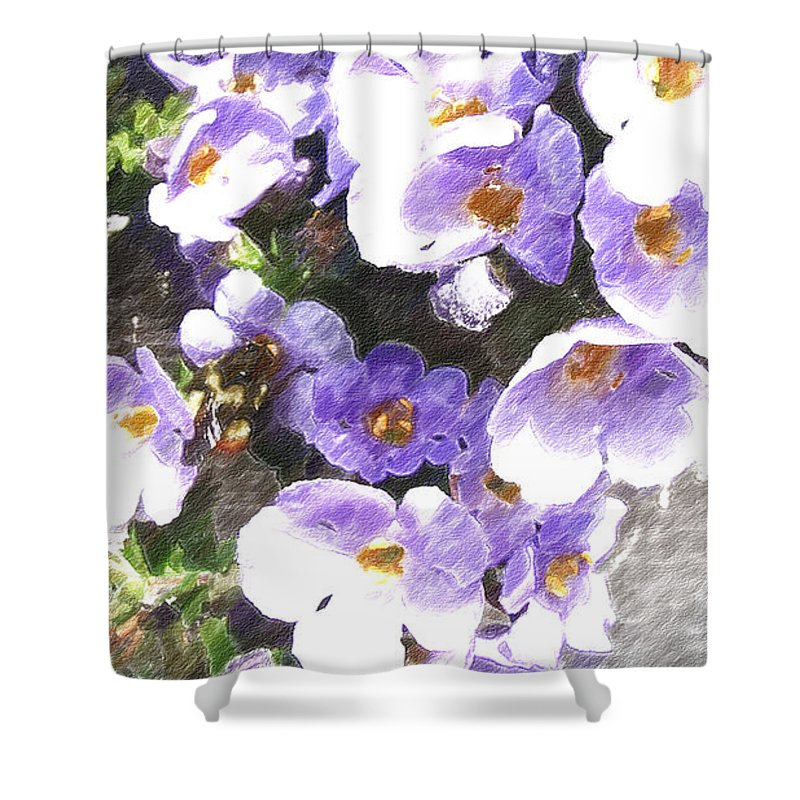 Abstract Flower Shower Curtain featuring the digital art Rustic Planter Box by Beverly Guilliams