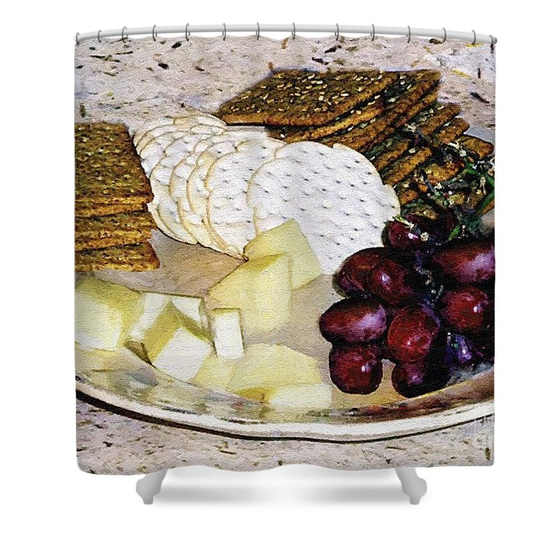 Cheese Shower Curtain featuring the painting Rustic Repast by RC DeWinter