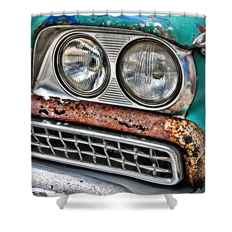 1959 Shower Curtain featuring the photograph Rusty 1959 Ford Station Wagon - Front Detail by Carlos Alkmin