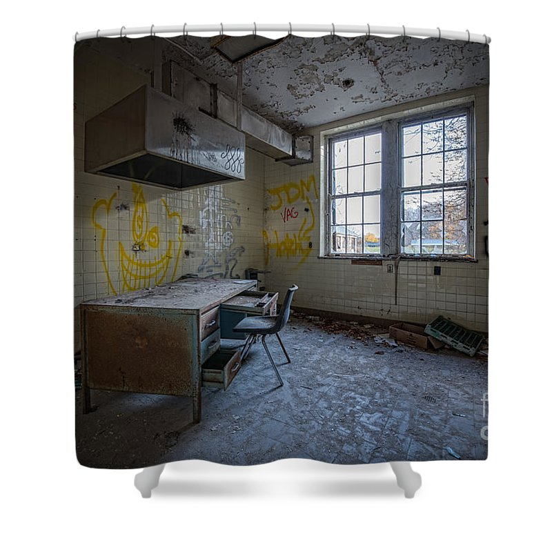 Urbex Shower Curtain featuring the photograph Rusty Desk by Michael Ver Sprill