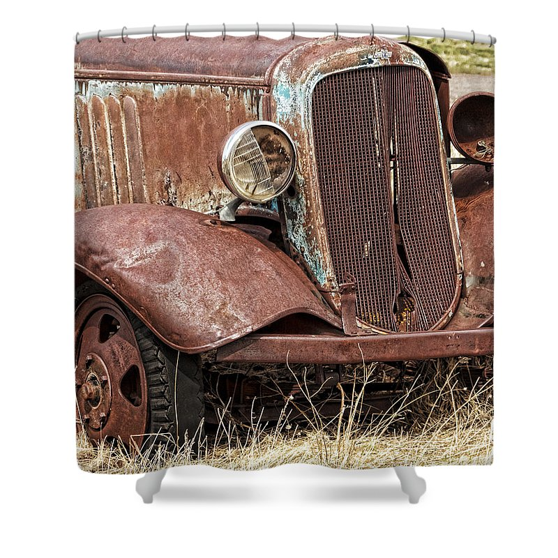 Rusty Old Chevy Shower Curtain featuring the photograph Rusty Old Chevy by Wes and Dotty Weber