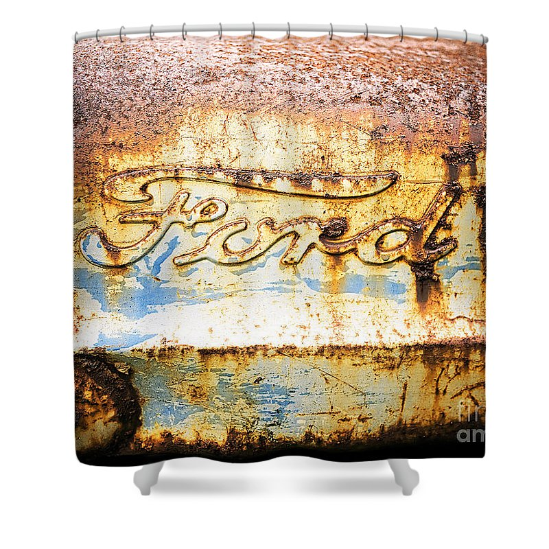 Ford Shower Curtain featuring the photograph Rusty Old Ford Closeup by Edward Fielding