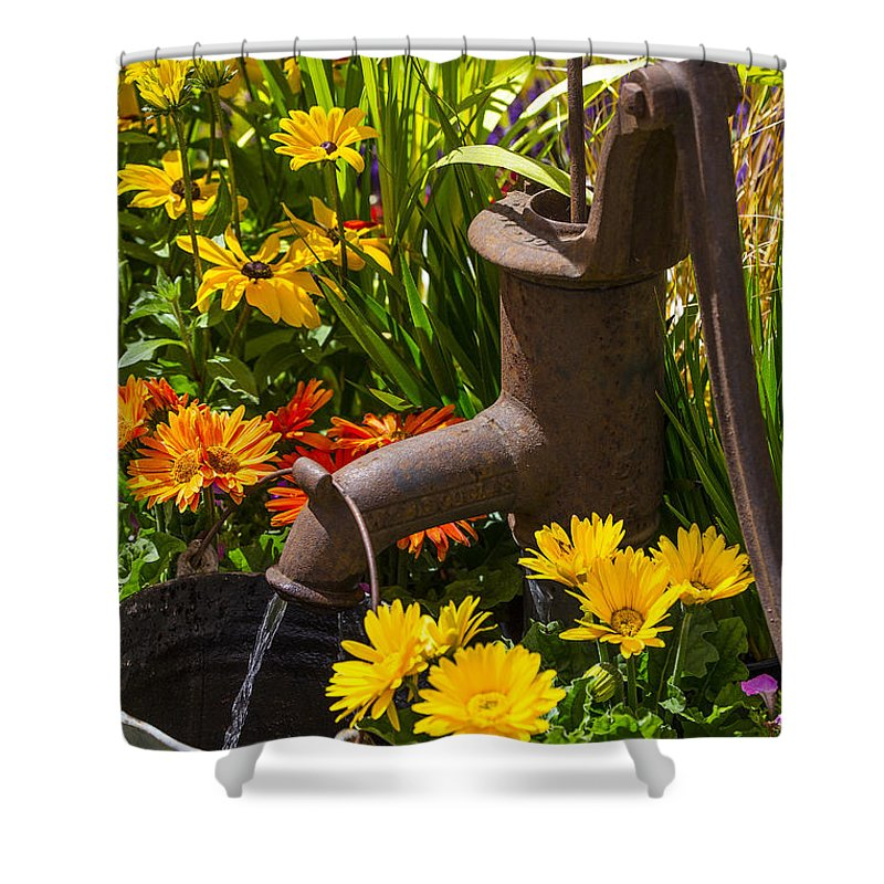 Rusty Shower Curtain featuring the photograph Rusty Old Water Pump by Garry Gay