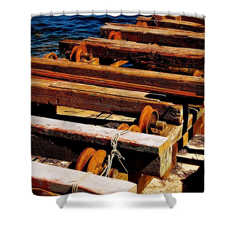 Boats Shower Curtain featuring the photograph Rusty Remains by Ira Shander