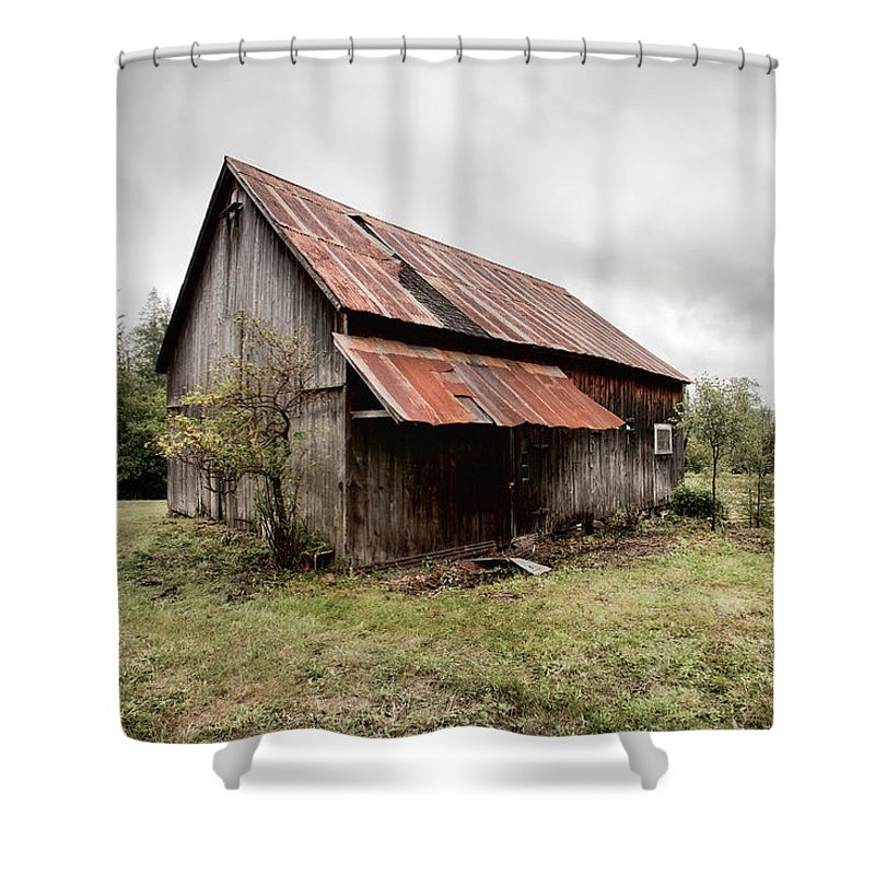 Old Barn Shower Curtain Featuring The Photograph Rusty Tin Roof By Gary Heller