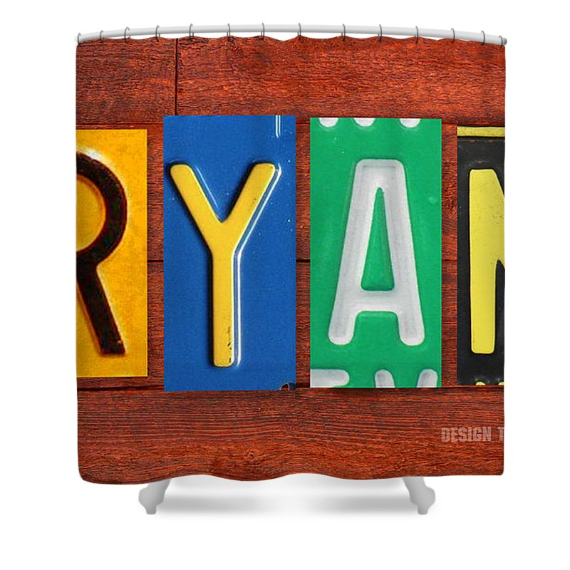 License Shower Curtain Featuring The Mixed Media Ryan Plate Name Sign Fun Kid Room Decor
