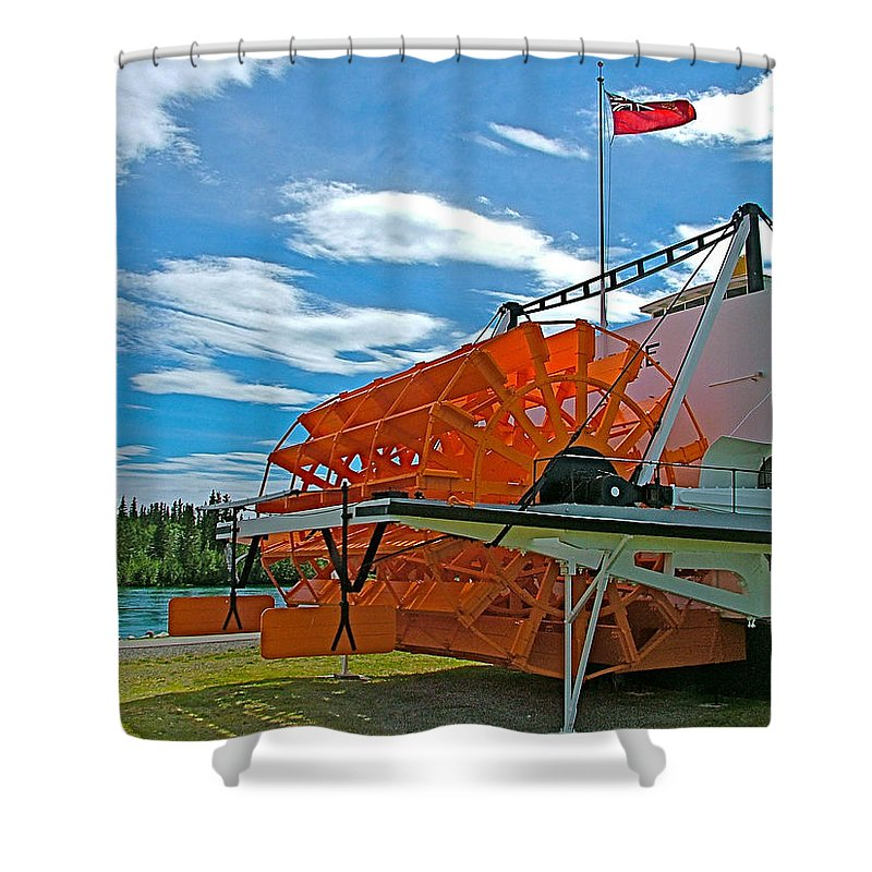 S S Klondike On Yukon River In Whitehorse Shower Curtain featuring the photograph S S Klondike On Yukon River In Whitehorse-yt by Ruth Hager