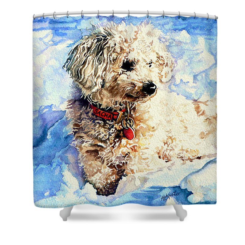 Dog Portrait Shower Curtain featuring the painting Sacha by Hanne Lore Koehler