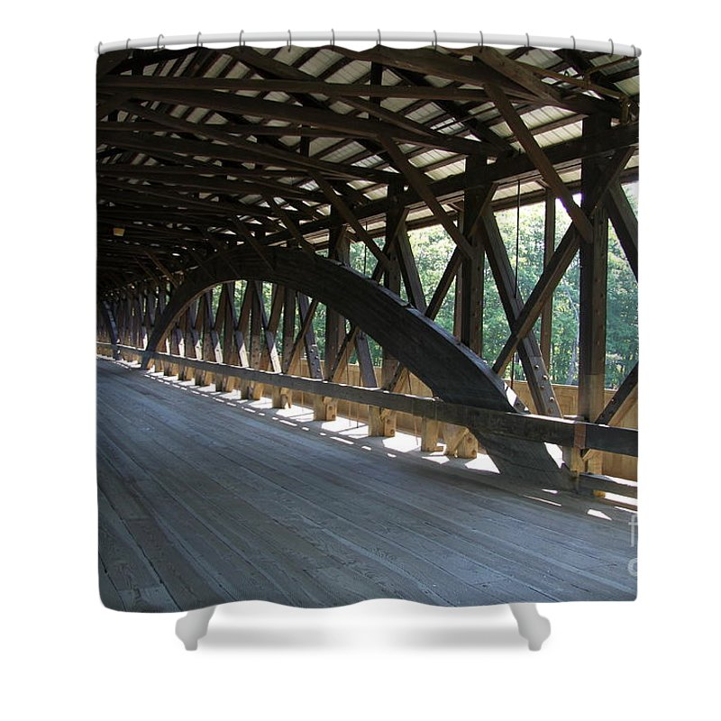 Covered Bridge Shower Curtain featuring the photograph Saco River Covered Bridge Nh by Christiane Schulze Art And Photography