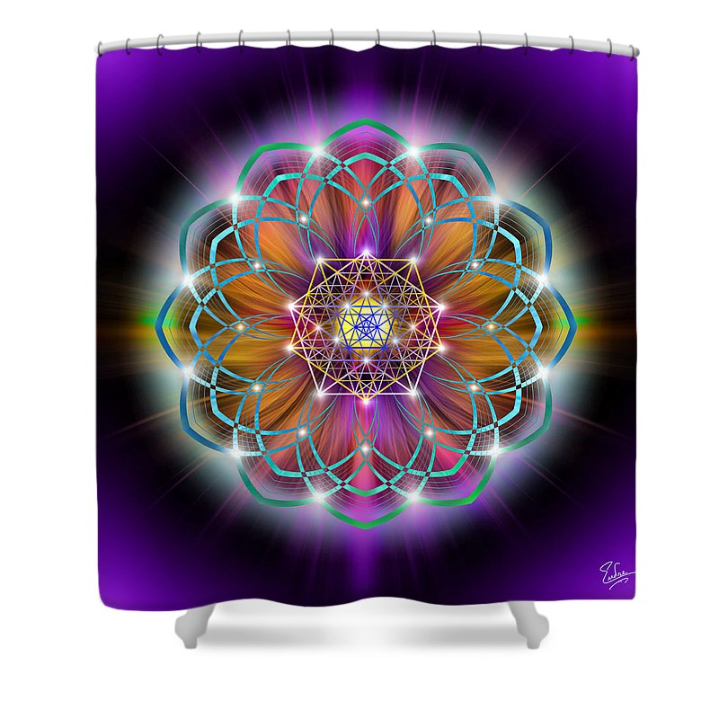 Endre Shower Curtain Featuring The Digital Art Sacred Geometry 213 By Balogh