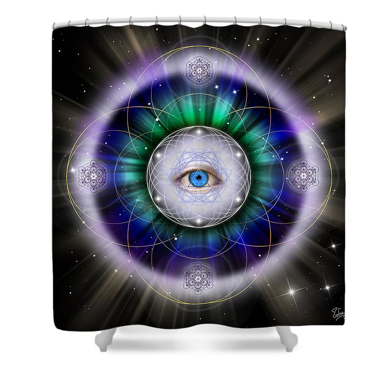 Endre Shower Curtain featuring the digital art Sacred Geometry 264 by Endre Balogh